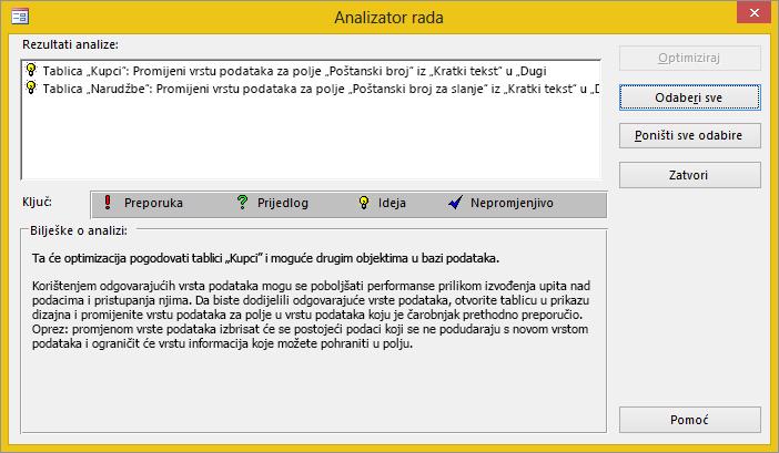 Dijaloški okvir s rezultatima analizatora rada nakon pokretanja na bazi podataka programa Access.