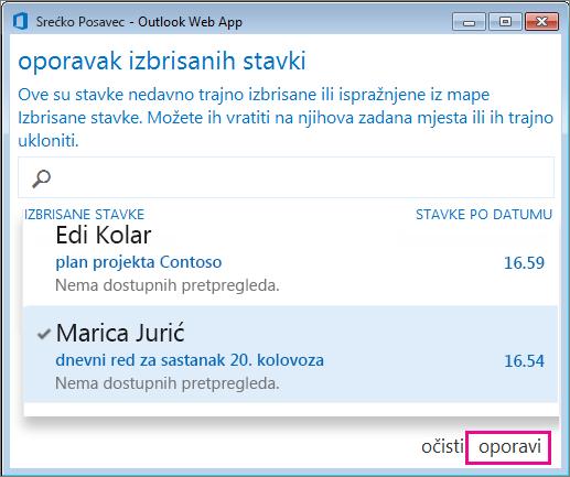 Dijaloški okvir Oporavak izbrisanih stavki u web-aplikaciji Outlook Web App
