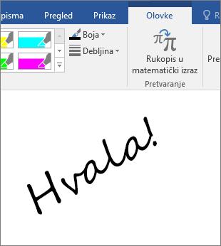 Prikazuje primjer rukom napisanih bilješki u dokumentu programa Word