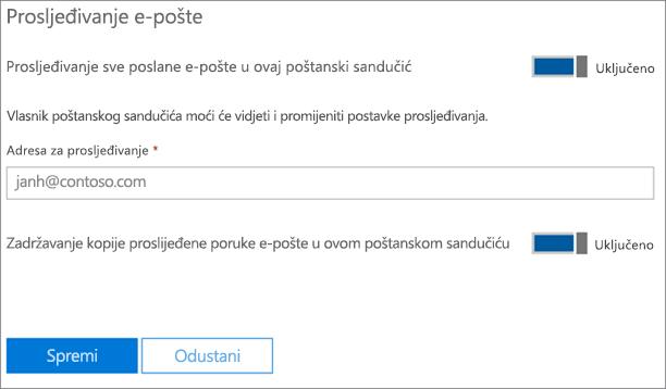 Snimka zaslona: Unesite prosljeđivanje adresu e-pošte
