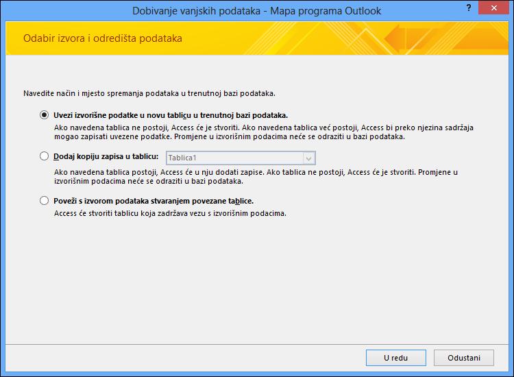 Odaberite uvoz ili dodavanje mape programa Outlook ili povezivanje s njom