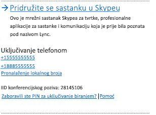 Korisničko sučelje s mogućnošću Uključite se u sastanak programa Skype