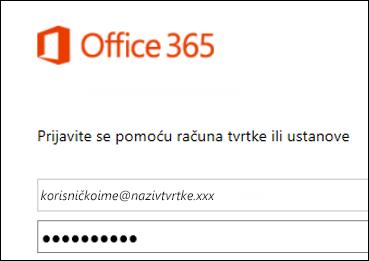 zaslon za prijavu na portal za office 365