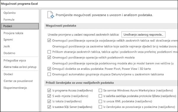 Mogućnosti podataka premještene iz datoteke > Mogućnosti > Dodatno sekcije na novoj kartici pod nazivom podataka u odjeljku datoteka > mogućnosti.