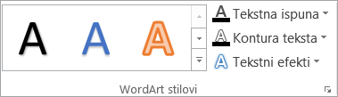 Grupa WordArt stilovi
