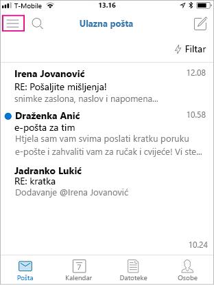 Početni zaslon aplikacije Outlook Mobile s istaknutim gumbom izbornika