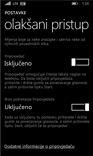 Postavke pripovjedača za Windows Phone