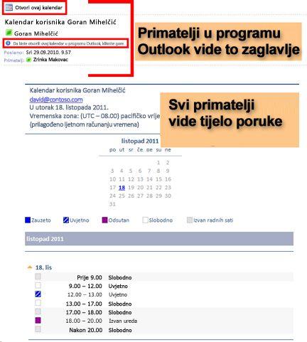 Primjer kalendara primljenog pomoću značajke slanja kalendara e-poštom