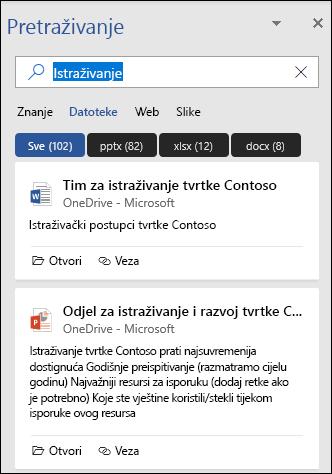 Okno za pretraživanje s prikazom datoteka koje su pronađene pomoću pretraživanja