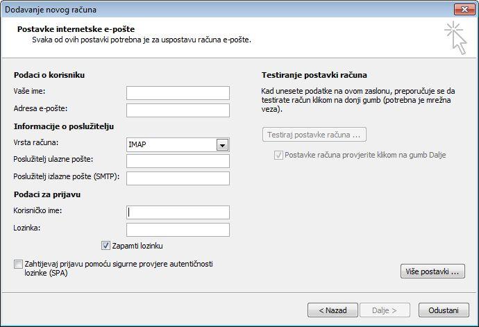 Postavke internetske e-pošte u programu Outlook 2010