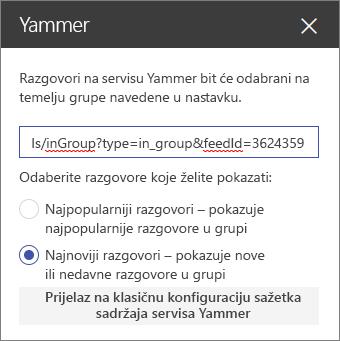 Okno svojstva servisa Yammer