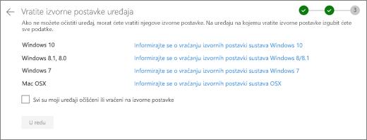 Snimka zaslona uređaja za ostale na web-mjestu OneDrive