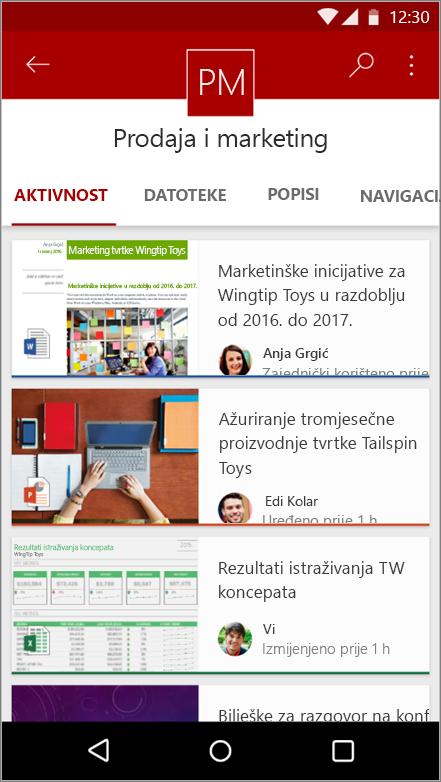 Snimka zaslona s prikazom aktivnosti web-mjesta, datoteke, popise i navigacije Android aplikacije za mobilne uređaje
