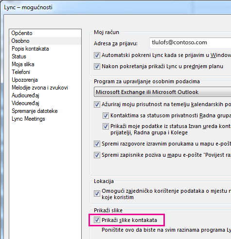 Snimka zaslona s mogućnostima programa Lync i odabranim stavkama Osobno i Prikazuj slike kontakata