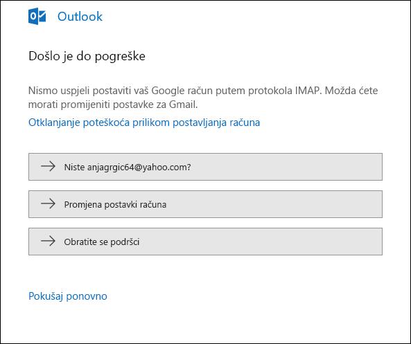 Nešto je pošlo po zlu prilikom dodavanja računa e-pošte u Outlook.