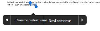 Dodirnite novi komentar nakon odabira teksta u programu Word