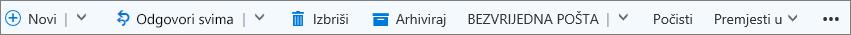 Traka naredbi servisa Outlook.com koja se prikazuje kad se odabere poruka