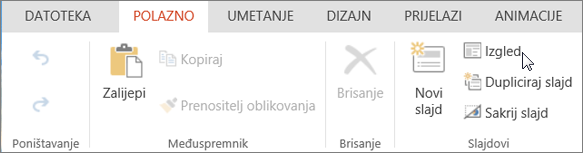Snimka zaslona prikazuje karticu Polazno s pokazivačem koji pokazuje na mogućnost Raspored u grupi Slajdovi.