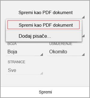 Odabir spremanja u obliku PDF-a