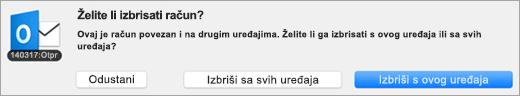 Snimka zaslona dijaloškom okviru brisanje računa