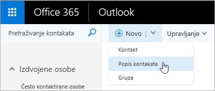 Snimka zaslona s kontekstnim izbornikom za gumb ' novo ', s odabranom stavkom ' popis kontakata '.