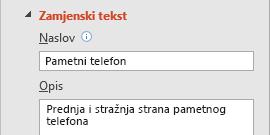 Značajka zamjenskog teksta za slike u programu PowerPoint