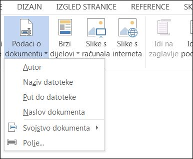 Izbornik Podaci o dokumentu za zaglavlja i podnožja