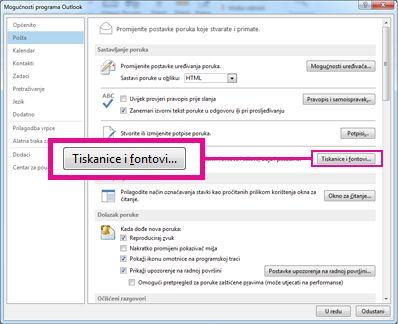 Naredba Tiskanice i fontovi u dijaloškom okviru Mogućnosti programa Outlook