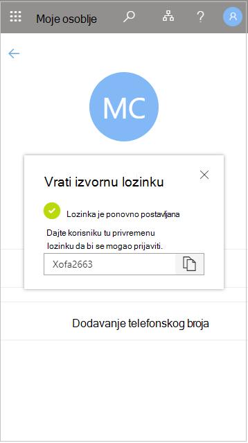 Kopiranje privremene korisničke lozinke nakon vraćanja na izvorno u aplikaciji Moje osoblje