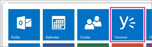 Snimka zaslona pokretača aplikacija sustava Office 365 s prikazanim servisom Yammer
