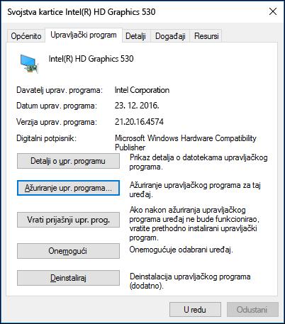 Otvorite karticu Upravljački program da biste ažurirali upravljački program uređaja ili se vratili na njegovu stariju verziju