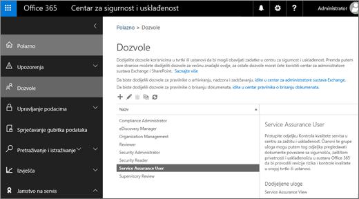 Snimka zaslona stranice za sigurnost i dozvole za centar za usklađenost s odabranim korisnikom jamstvo servisa.