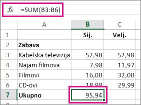 Primjer naredbe Automatski zbroj s prikazanim rezultatom