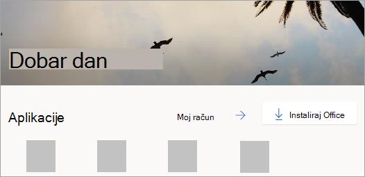 Snimka zaslona s prikazom početne stranice servisa Office.com nakon prijave