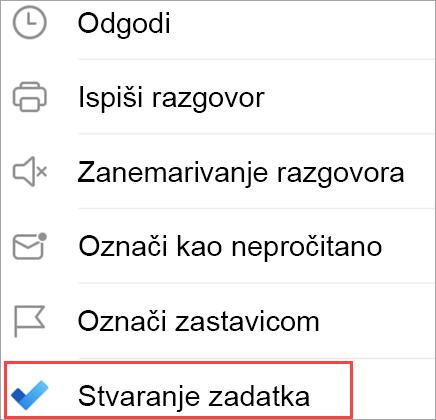 Prikaz mogućnosti e-pošte