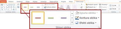 Kartica Oblikovanje u odjeljku Alati za crtanje programa PowerPoint 2010