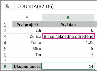 Funkcija CountA s odabirom raspona