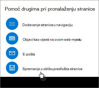 Promocija ploče koja prikazuje predložak stranice spremanje u obliku