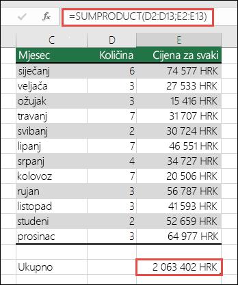 Rješavanje pogreške #VALUE! podataka radi rješavanja pogreške SUMPRODUCT