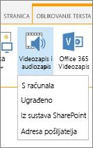 Umetanje videozapisa ili audio gumb na vrpci uređivanje
