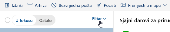 Snimka zaslona s gumbom Filtriraj