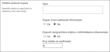 Stupac s više redaka teksta za biblioteke dokumenata