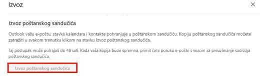 Snimka zaslona na kojoj se prikazuje mogućnost za izvoz poštanskog sandučića