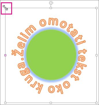 Ručica za promjenu veličine WordArta