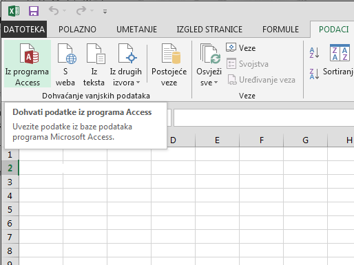 Uvoz podataka iz programa Access