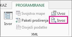 Izvoz na kartici Programiranje