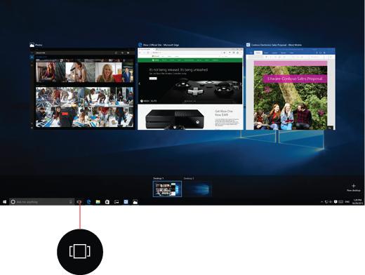 Snimka zaslona s virtualnim stolnim računalima