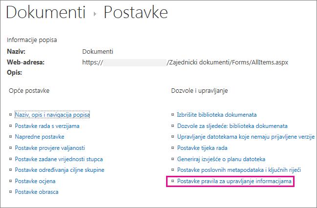 Veza na pravilnike o upravljanju informacijama na stranici s postavkama biblioteke dokumenata