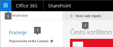 SharePoint Online gornji lijevi kut početnom zaslonu.