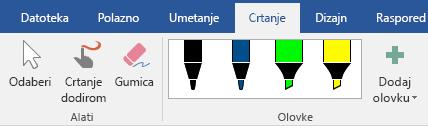 Olovke i alati za isticanje na kartici Crtanje u sustavu Office 2016